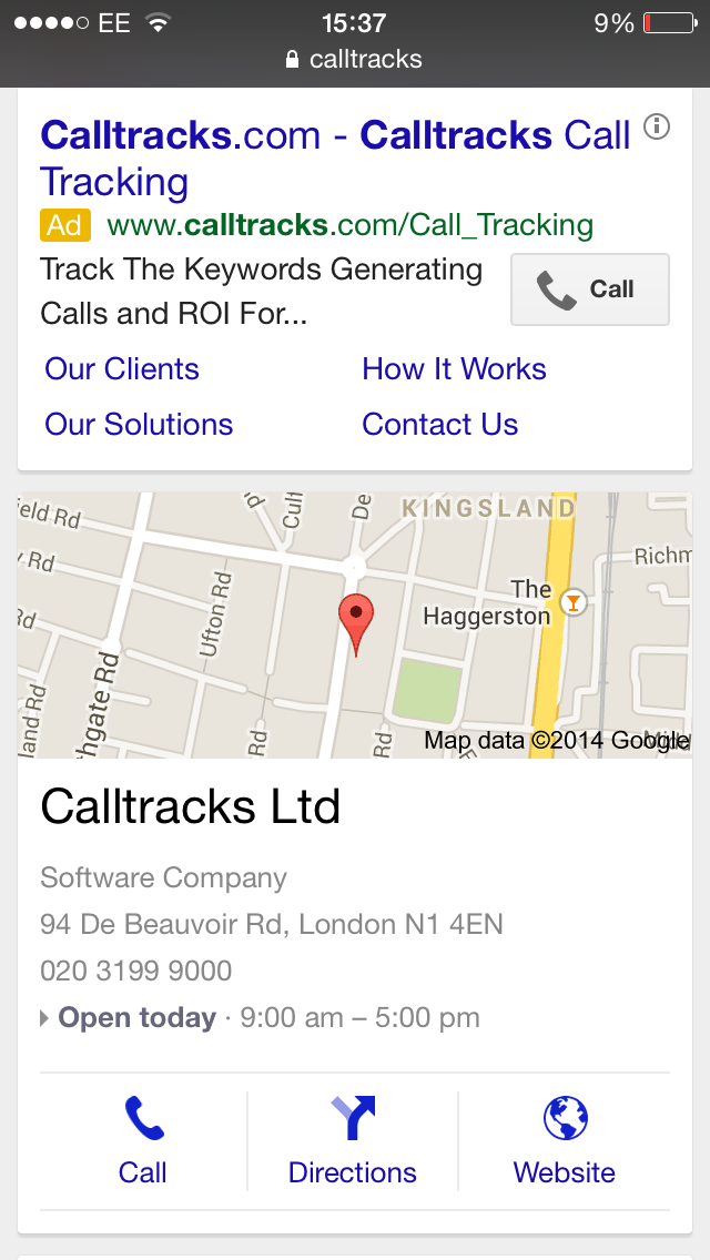 SERP with click-to-call for paid and organic search