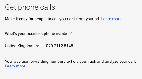 Example of how to add call extensions in Google Ads