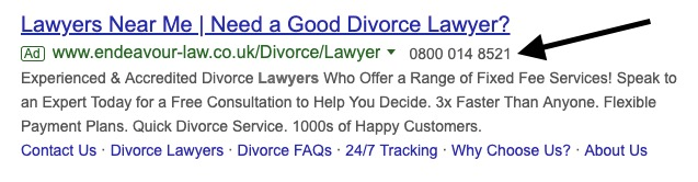 An example of a Google Ads Call Extension
